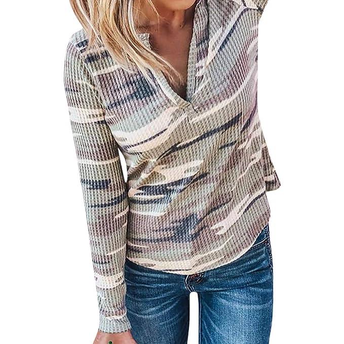 Luckycat Camuflaje de Las Mujeres con Cuello en V Manga Larga Jersey Blusa Camisas Tops Sudadera
