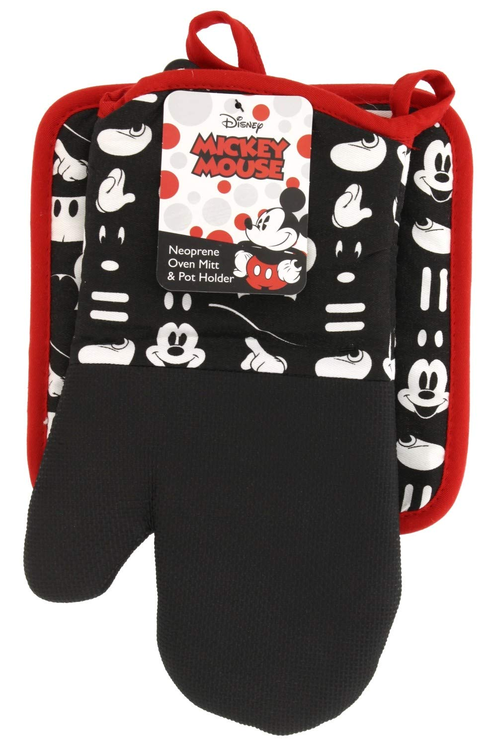 Disney Puppet Oven Mitt & Potholder w/Neoprene for Easy Gripping, Heat Resistant up to 500 degrees F, Mickey Mouse Icon, Black