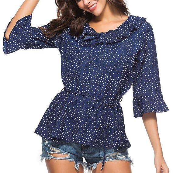 LuckES Blusa Plisada Elegante de la Blusa del Cuello del Equipo de la túnica del Punto