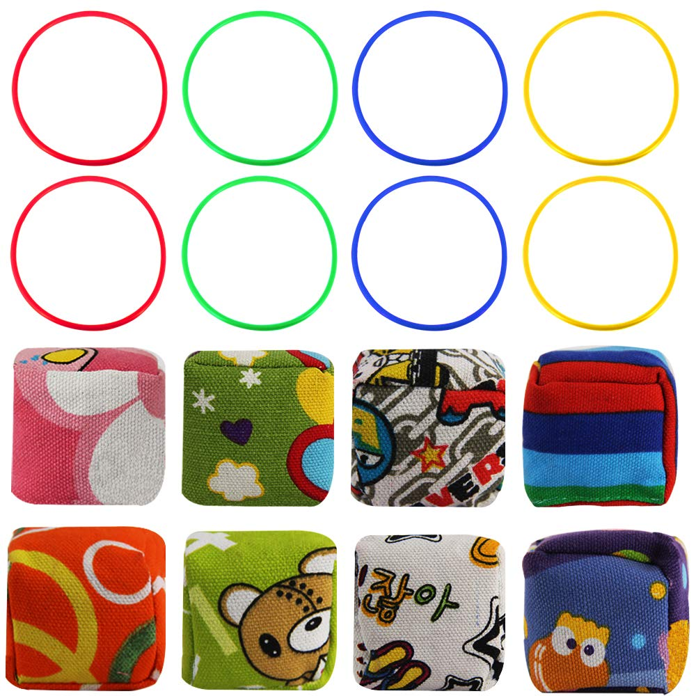 MeiGuiSha 8pcs Pattern Nylon Bean Bags and 8pcs Plastic Rings for Kids Ring Toss Game,Booth Carnival Garden Backyard Outdoor Games