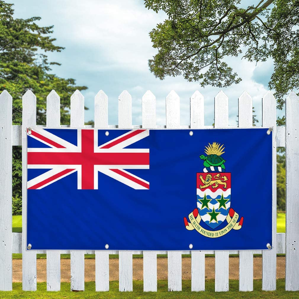 Multiple Sizes Available 8 Grommets Vinyl Banner Sign Cayman Islands Flag Blue Red Countries Marketing Advertising Blue 44inx110in One Banner