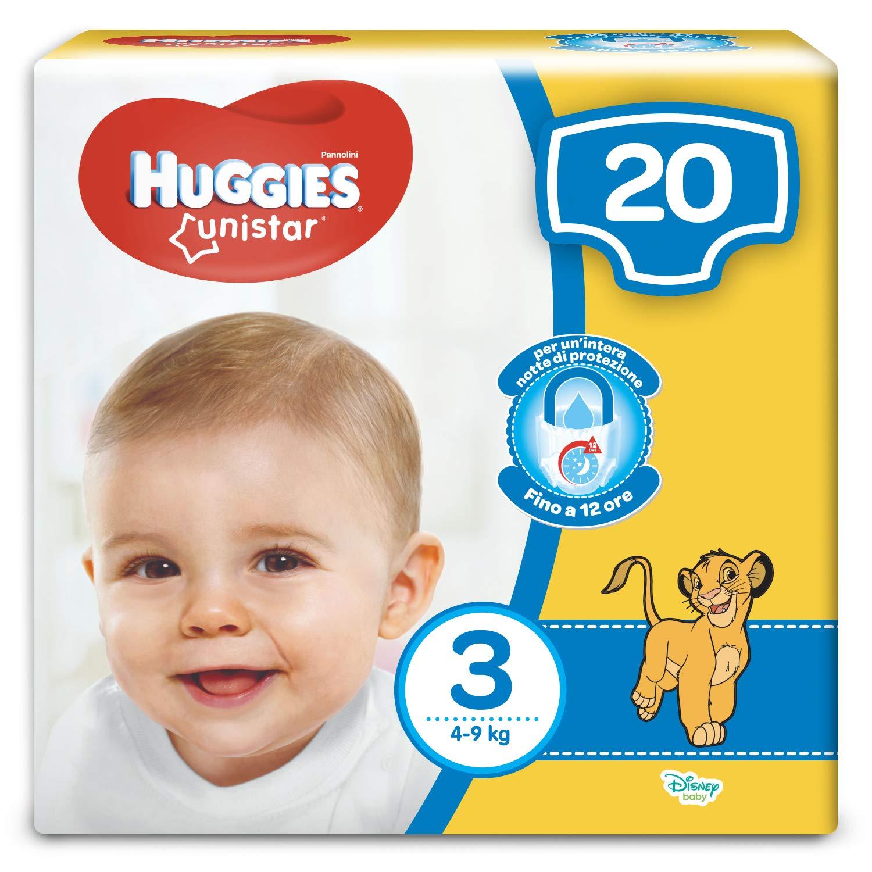 Huggies - Unistar - Pañales - Talla 3 (4-9 kg) - 20 pañales