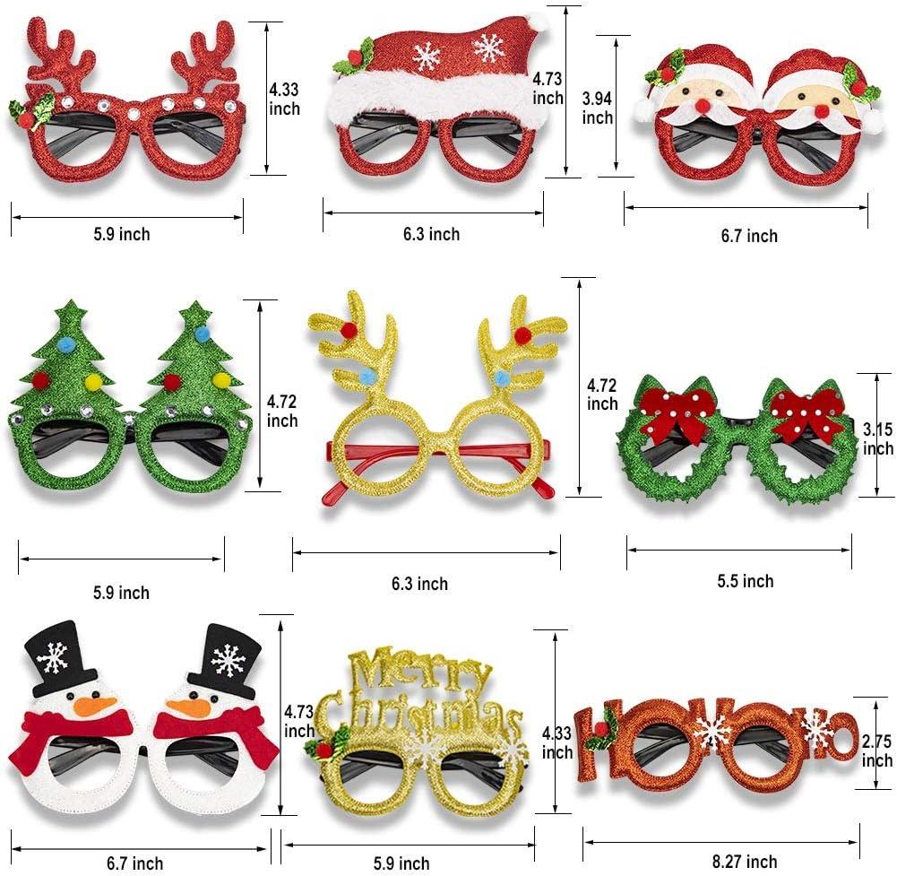 9 Pi/èces GoHist Lunettes De No/ël Arbre De No/ël Renne Lunettes Amusantes Lunettes De F/ête D/écoration De No/ël Cadeau De No/ël pour Enfants Costume Adulte