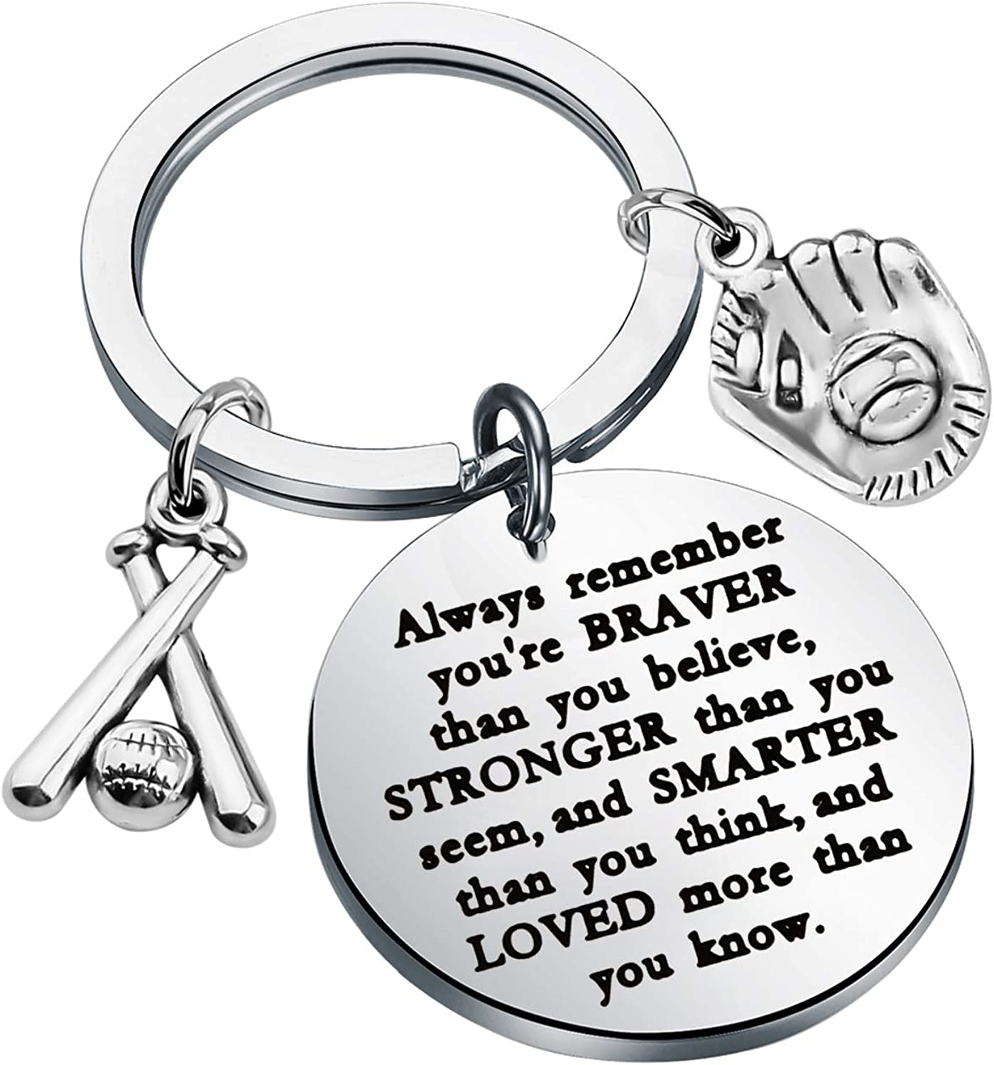 WSNANG Baseball Keychain Always Remember You are Braver Stronger Smarter Than You Think Keychain Baseball Student Graduation Gift Baseball Player Gift Baseball Coach Gift