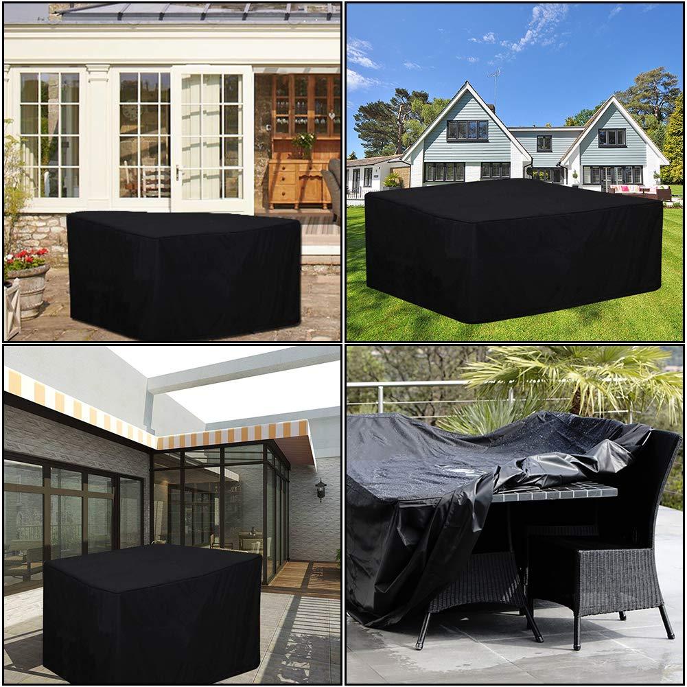Luthmor Fundas para Muebles de Jardin Funda Mesa Exterior Impermeable 420D Oxford Funda Mesa Jardin Cubierta Protectora Anti-UV 250 x 250 x 90cm