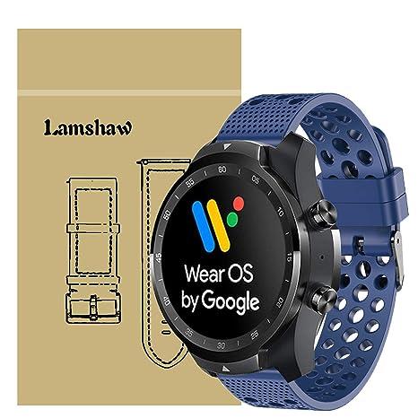 Ceston Clásico Deporte Silicona Correas para Smartwatch TicWatch Pro (Azul)