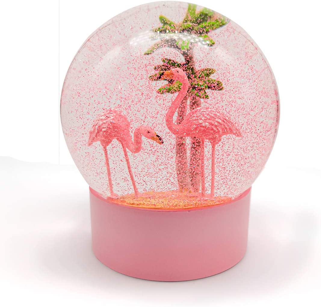 ANGELLOONG Pink Flamingo Snow Globe for Kids Girls, Originality 3D Flamingo Glitter Glass Snow Globes for Home Decor, 100MM