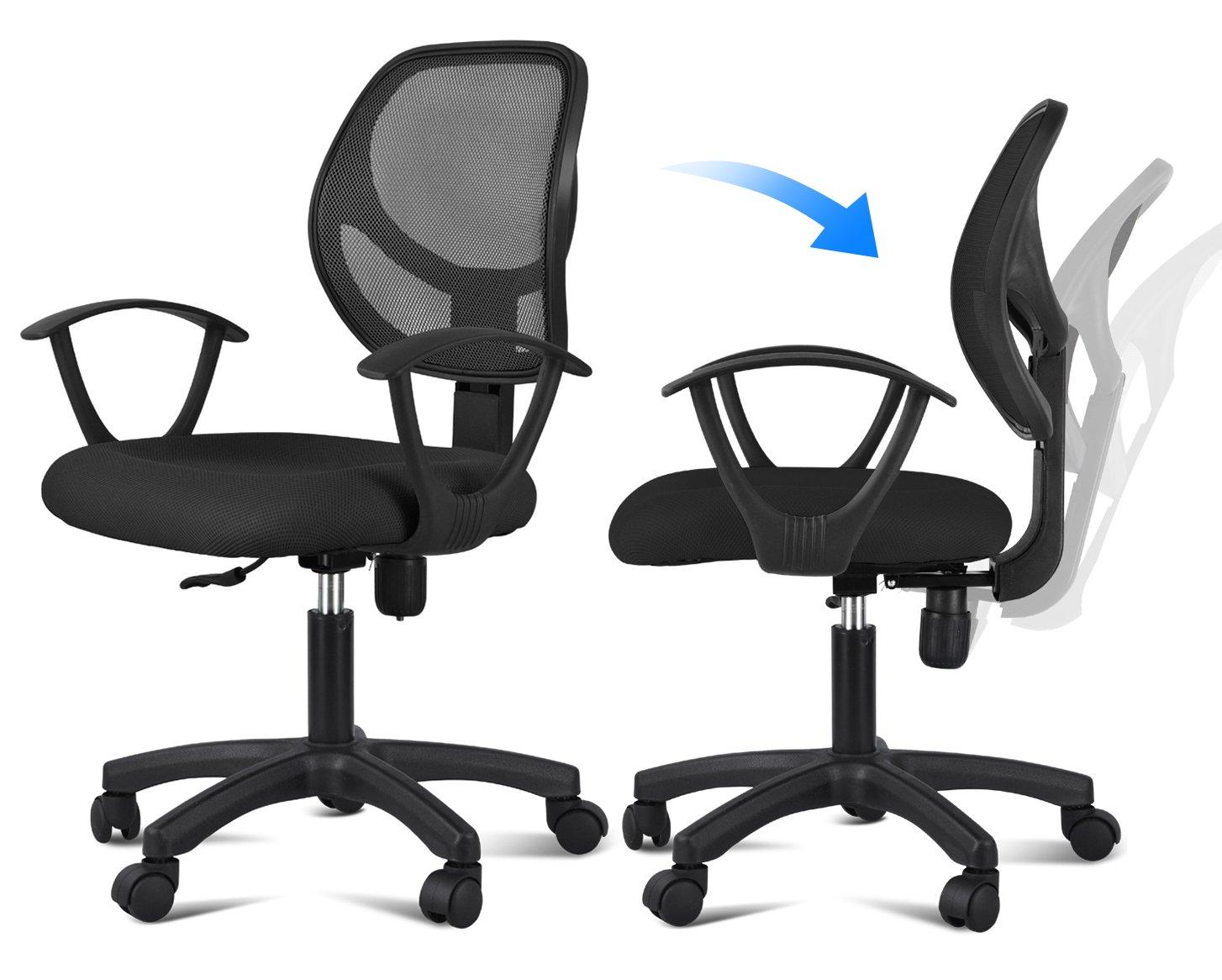 Amazon.com: Yaheetech Ergonomic Mesh Computer Office Desk Task Midback Task  Chair (Black): Kitchen U0026 Dining