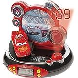 Lexibook RP500DC - Radiosveglia proiettore Disney Cars, design Lightning McQueen, Luce notturna integrata, Proietta l'ora sul soffitto, effetti sonori, a batterie, Rosso
