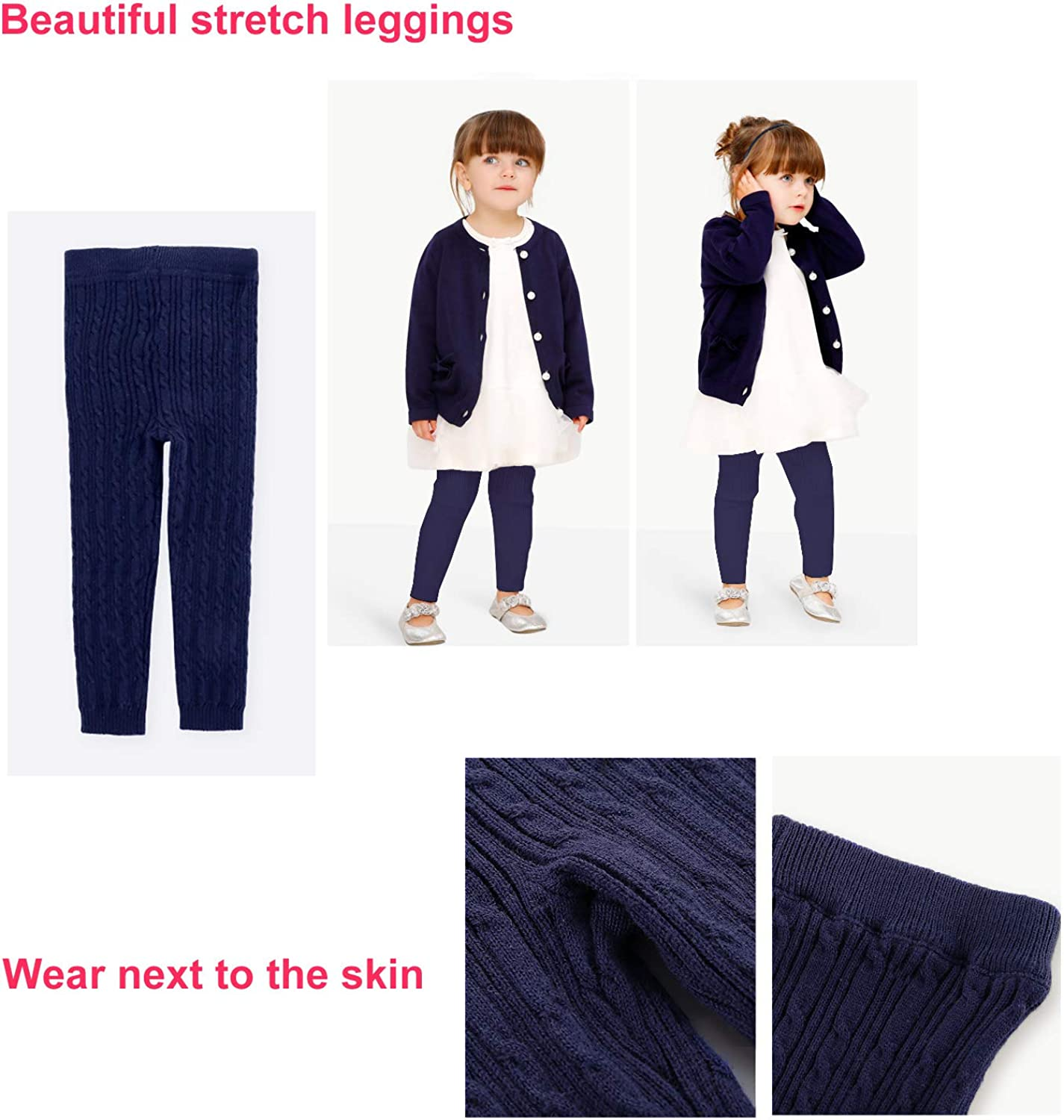 Baby Knit Leggings Tights for Baby Toddler Girls Boys Footless Pants Cotton Thick 6-18 Months
