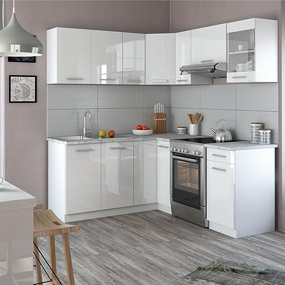 Vicco winkelküche küchenzeile 190 x 170 cm weiß hochglanz küche in l form küchenblock einbauküche komplettküche eckküche frei kombinierbare