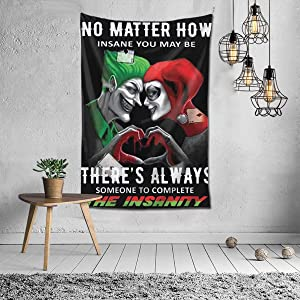 """Winsle Modern Art Tapestry No Matter Harley Quinn and The Joker Suicide Squad Home Decor Wall Hanging for Living Room Bedroom Dorm (4 Sizes) 60""""x51"""""""