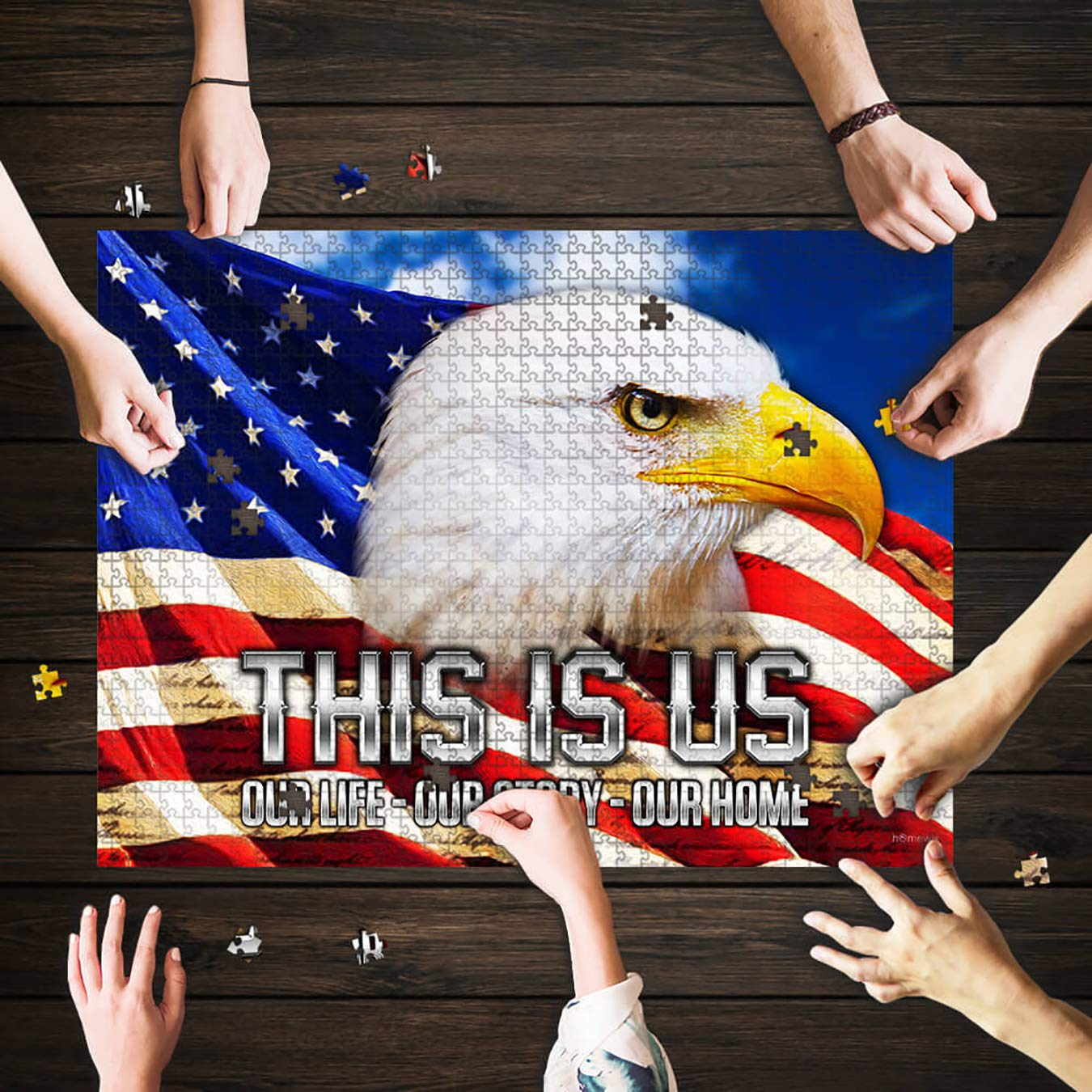 Puzzle Mat Adult Puzzles American Eagle Our Story Jigsaw Puzzle 192 Pieces Mod Podge Games for Adults Children Funny Gifts