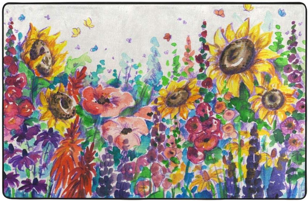 ZUL Alfombra Antideslizante de Baño,Acuarela Floral Estilo Flores Silvestres en el Campo Paisaje Colorido Flores Arte,Súper Suave Multiuso Lavable a Máquina75x45cm