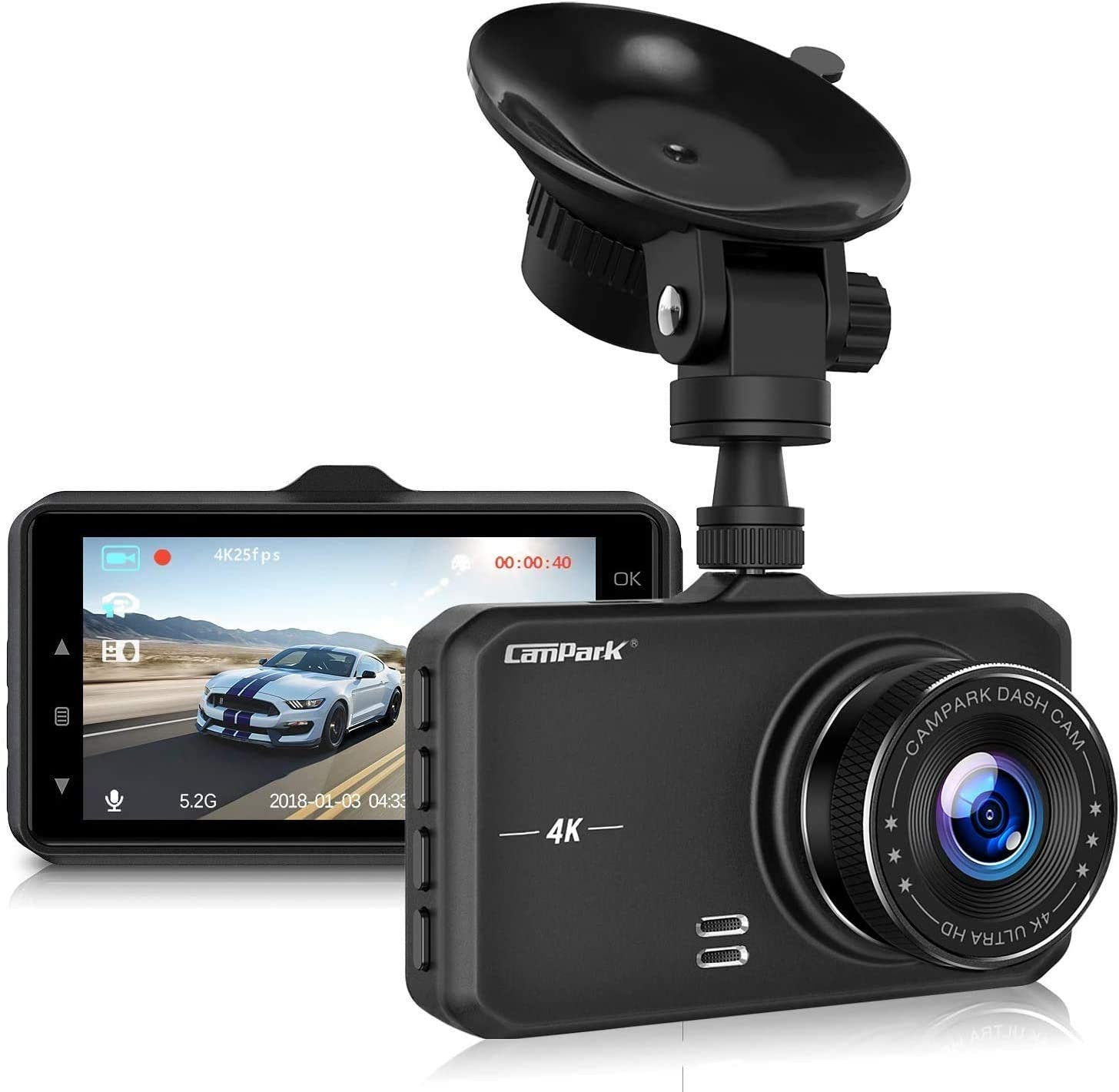 Campark Dash Cam 4K UHD DVR Dashboard Car Cameras with 170°Wide Angle Night Vision G-Sensor Parking Monitor and Motion Detection