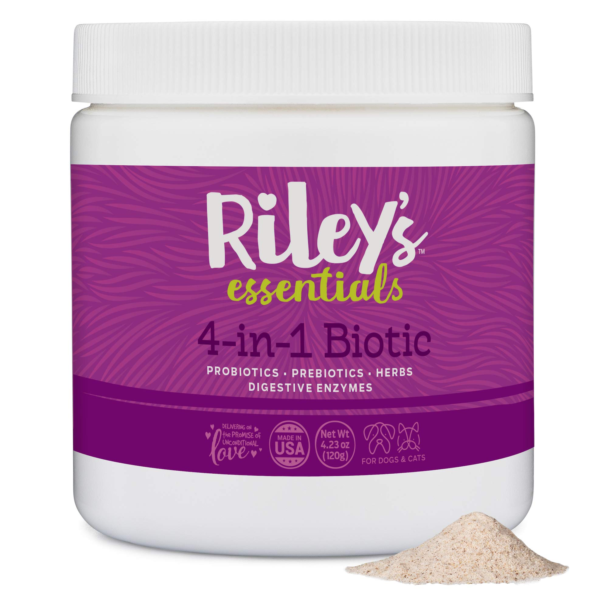 Riley's Probiotics for Dogs - 4-in-1 Biotic for Dogs & Cats - Probiotics, Digestive Enzymes, Prebiotics, and Herbs - Most Complete Canine Probiotics Supplements for Dogs - 4.23oz Powder by Riley's