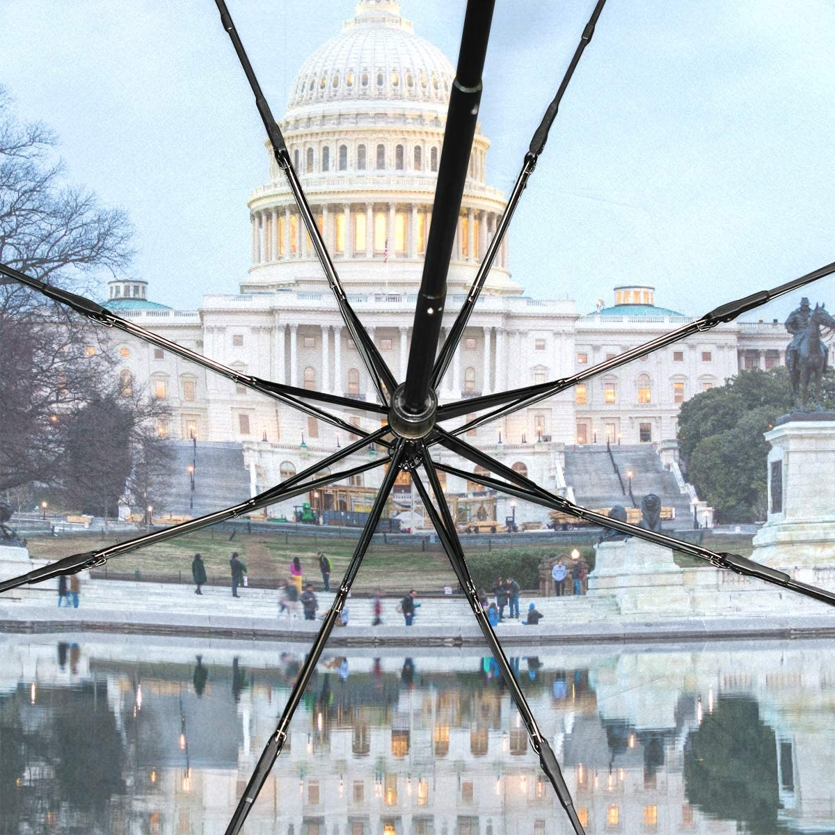 Inverted Umbrella Windproof Capitol Building At Night In District Of Columbia Portable Compact Folding Umbrella Anti Uv Protection Windproof Outdoor Travel Women Mens Inverted Umbrella
