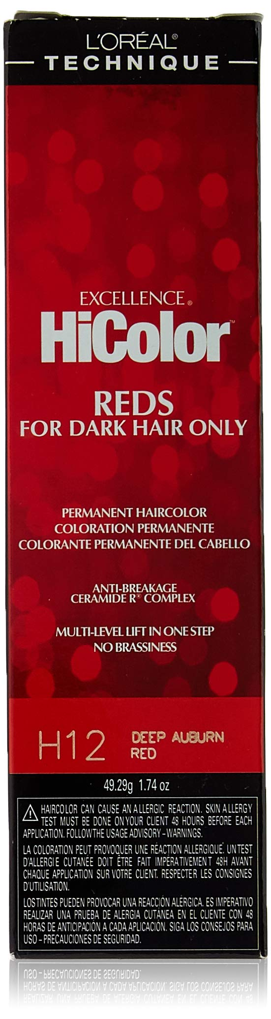 L'Oreal Paris Excellence HiColor Permanent Haircolor, Deep Auburn Red, 1.74 Ounce