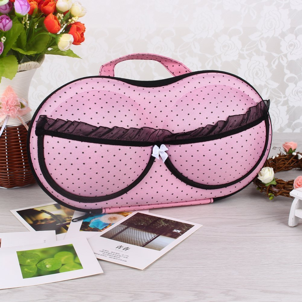 Yosoo Portable Protect Bra Underwear Lingerie Case Storage Box Travel Organizer Bag Pouch with Zipper & Carrying Handle(Pink Tiny Polka Dot) LEPAC222