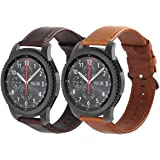 KADES Genuine Leather Retro Cowhide Smart Watch Band with quick release pin for Samsung Gear S3 Classic and Gear S3 Frontier - Large, Pack of 2