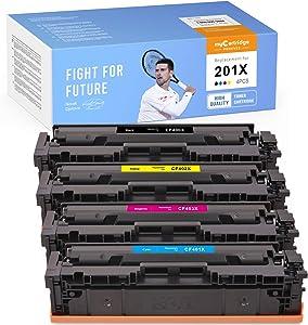myCartridge PHOEVER Compatible Toner Cartridge Replacement for HP 201X CF400X CF401X CF402X CF403X 201A for HP Color Laserjet Pro MFP M277dw M277n M277c6 M252dw (Black Cyan Magenta Yellow, 4-Pack)