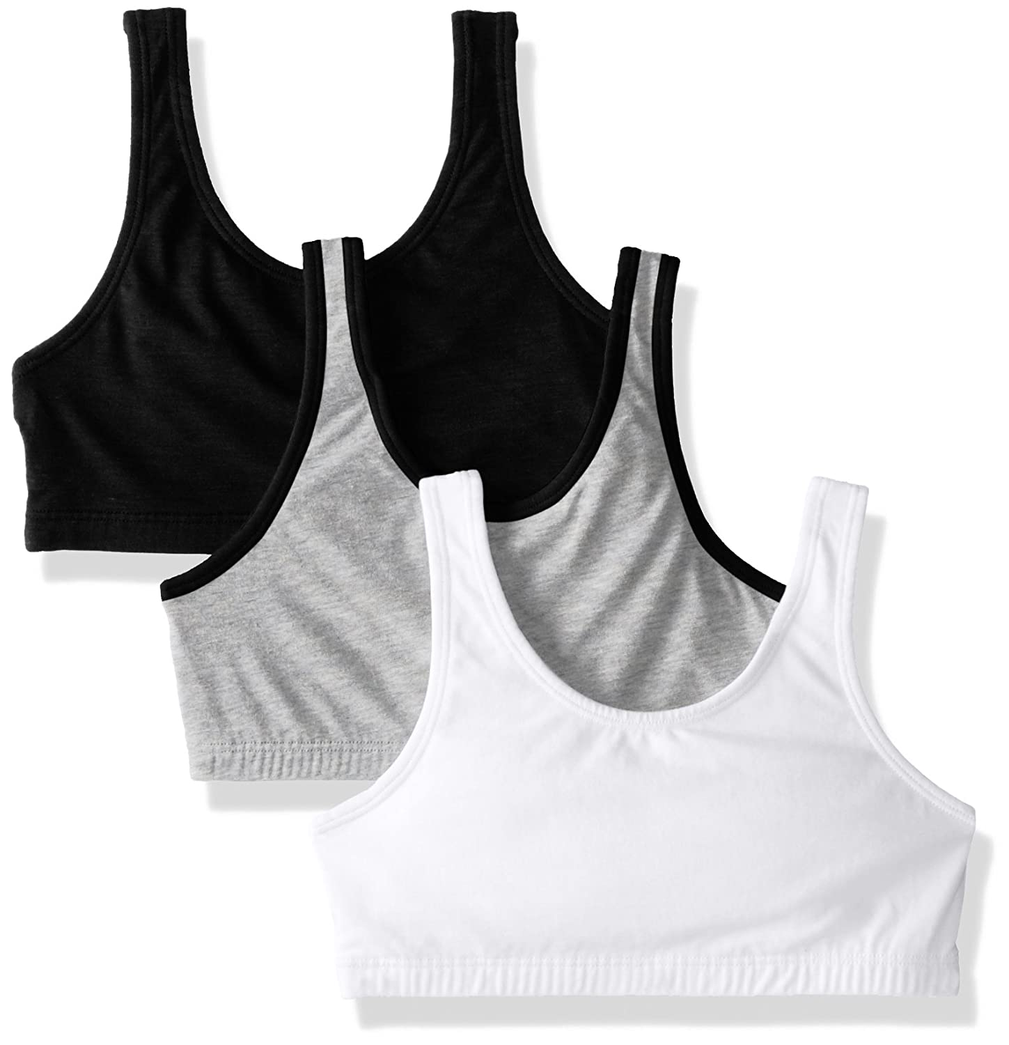 Pack of 3 Fruit of the Loom Girls Cotton Built-up Sport 3 Pack Bra