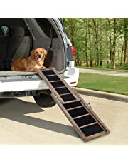 GYMAX Dog Pet Ramp, Telescopic Wooden Ramp, 98cm-166cm, Non-slip Surface, Portable Pets Step Stairs Ladder, Perfect for Car, Travel Use - 100 KG Capacity