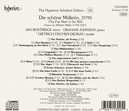 Schubert: The Hyperion Schubert Edition, Vol. 25 Die schöne Müllerin ...