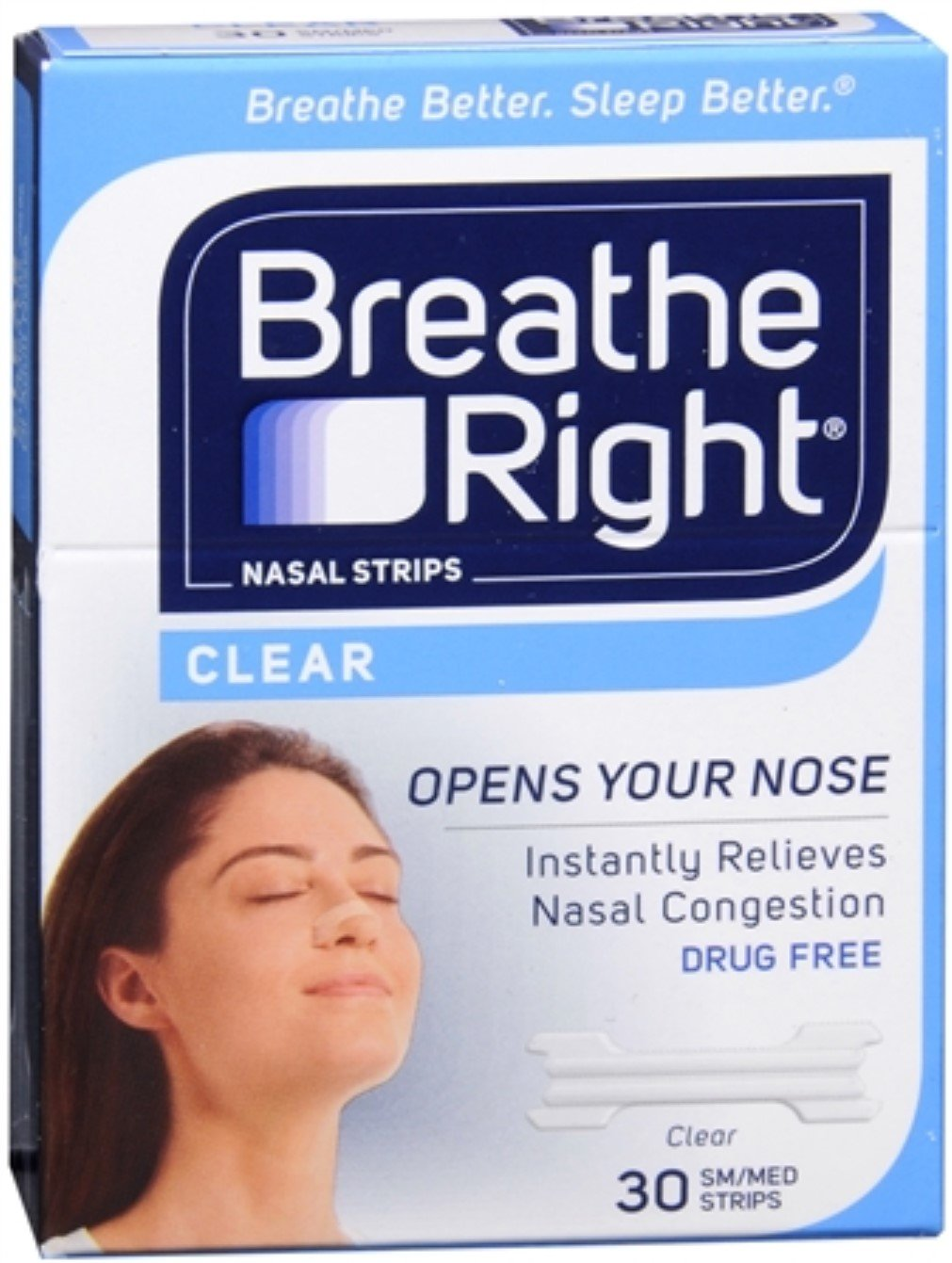 Breathe Right Nasal Strips Clear Small/Medium 30 Each (Pack of 8)
