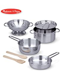 """Melissa & Doug Let's Play House! Stainless Steel Pots & Pans Play Set for Kids Construction, 8 Pieces, 13"""" H x 6"""" W x 6"""" L)"""