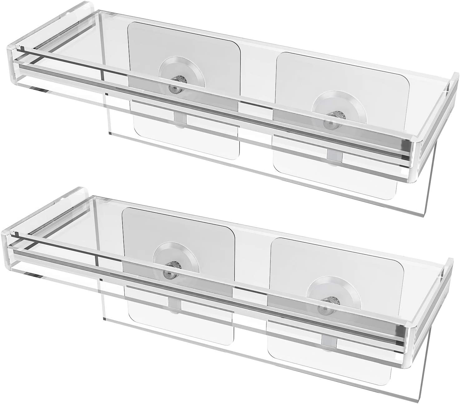 HOMENOTE Set of 2 Acrylic Floating Window Plant Shelf 7 inch Wall Shelf for Small Succulent Pots – Perfect for Kitchen Spice Rack or Bathroom Mirror Shelf