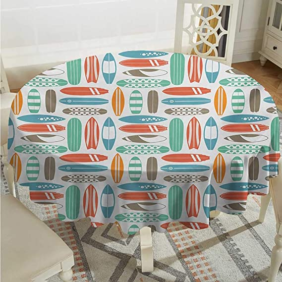 Amazon.com: Surfboard Round Polyester Tablecloth Surfboards Transported On Vehicles Cars Bikes Motorcycles California Washable Polyester - Great for Buffet ...