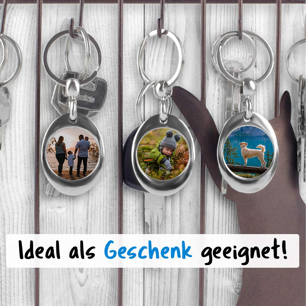 Personalisierbarer Schl/üssel-Anh/änger zum selbst gestalten mit eigenem Bild//Geschenkidee//Foto-Geschenk//Metall-Anh/änger mit Einkaufschip