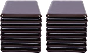 RCHYFEED 16 Pack Self-Stick Furniture Sliders, 2-1/2 inch Furniture Moving Pads Self Heavy Duty Adhesive Furniture Movers for Carpet Sliders(Square, Brown)