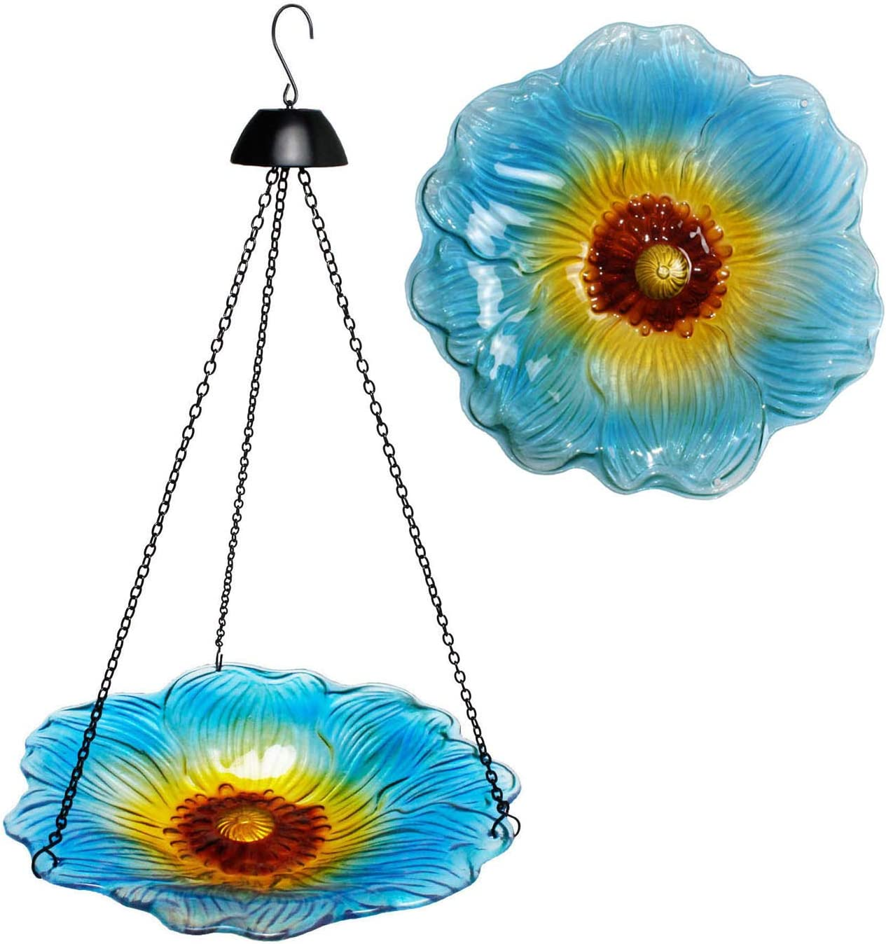 Jayzod Glass Bird Bath 12 Inch Hanging Birdbaths for Outdoor Garden Decoration 100% Hand Painted Birdbath Blue Flower Pattern