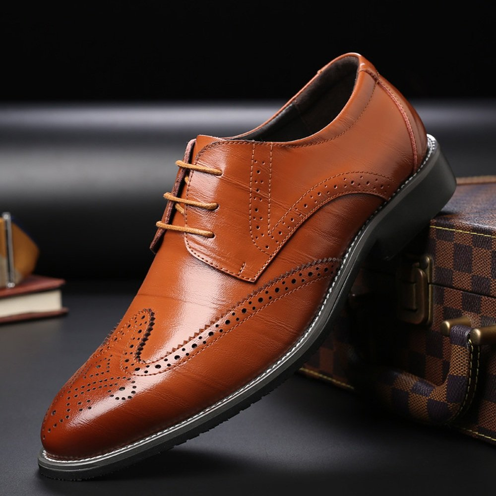 Lederschuhe Leder Herren Lederschuhe aus Echtem Leder Lederschuhe Brogue Schuhe Wingtip Hohl Carving Lace up Business Niedrig Top Ausgekleidet Oxfords Orange 02c453