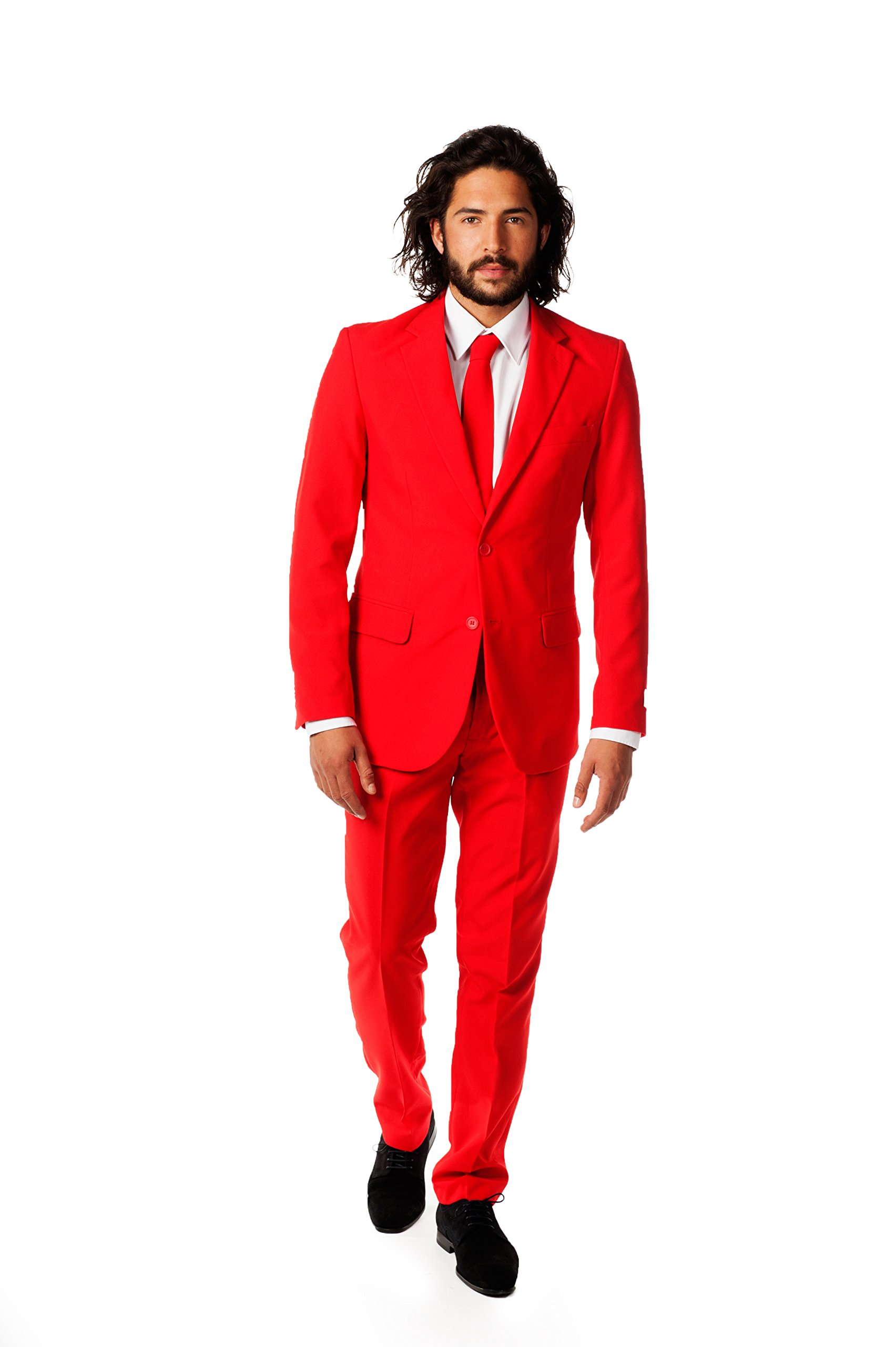 OppoSuits Men's Red Devil Party Costume Suit, Red, 36
