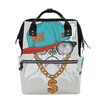 TIZORAX Hipster - Mochila de viaje para bebé con diseño de perro bulldog en retrato de hip-hop: Amazon.es: Bebé