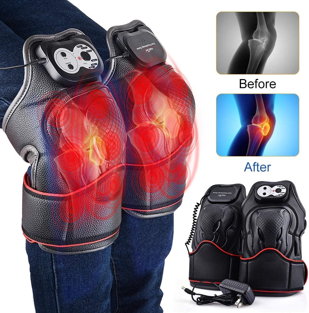 HailiCare Heat Therapy, Knee Physiotherapy Massager, Heated and Vibration Massage Knee and Joint Pain Relief Massager, Gift for Mom Dad Unisex Adults -1 Pair Left Right