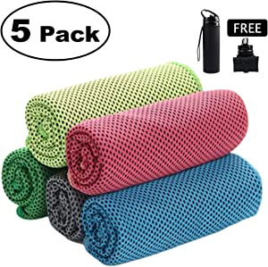 HEALH ME Individual 5 Pack Cooling Towel – Free Collapsible Water Bottle 20Oz - Instantly Cool Unlimited Cold Fast Dry Evaporative – Neck Cooler - Ice Cooling Scarf – Lightweight Great Absorption