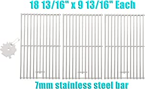 "PETKAO 18 13/16 x 9 13/16"" Stainless Steel Cooking Grids Grate for KitchenAid 720-0745B 720-0745A 740-0780 720-0709C 720-0826 720-0819 Nexgrill 720-0745 720-0745A 720-0745B, 3PCS"