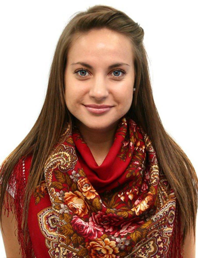 Pavlovo Posad Russian Shawl № 87 Red 100% Wool 35x35''