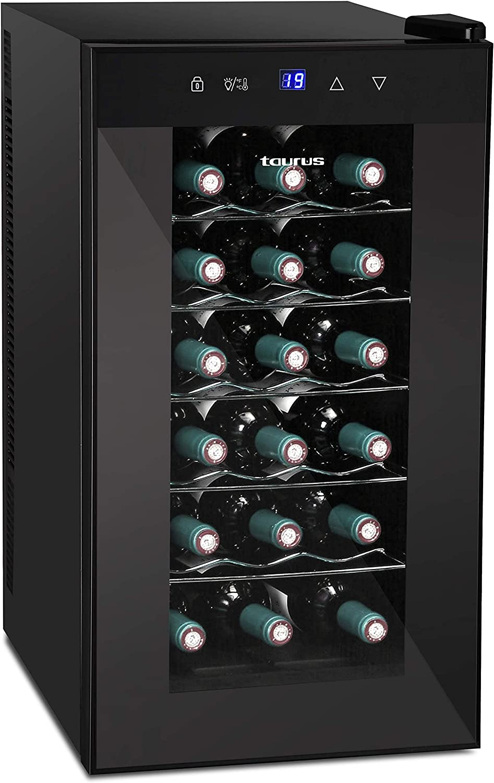 Taurus PTWC18 - Cave à Vin, 18 Bouteilles, 47 L, Stockage Vertical, Température Réglable entre 12 et 18 °C, Silencieuse, Ne Vibre Pas, Système Anti-Humidité, Lumière LED à l'Intérieur, Noir