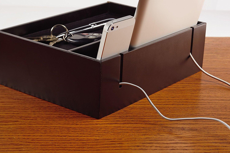 Mens Black Wooden Phone Tablet Charging Station Men S