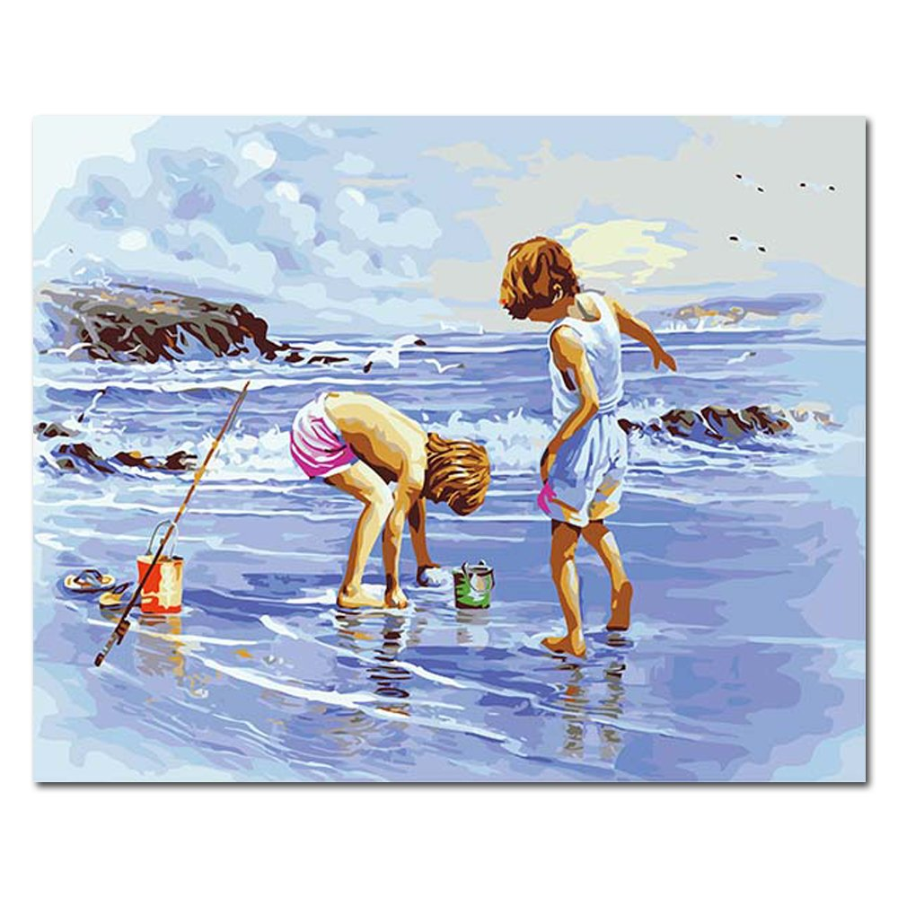 Mesno DIY Oil Painting ,Paint by Number Kit for Adults Kids-Summer Beach 16x20 inch [Framed Canvas]