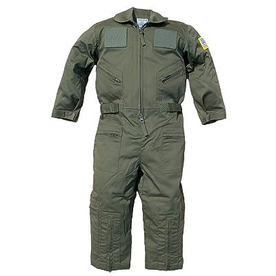 Trendy Apparel Shop Kid's US Pilot Flight Suit Uniform with Hook and Loop Patch: Clothing