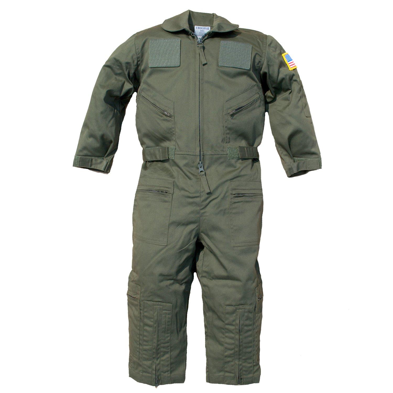 Trendy Apparel Shop Kid's US Pilot Flight Suit Uniform with Hook and Loop Patch - Olive - XL