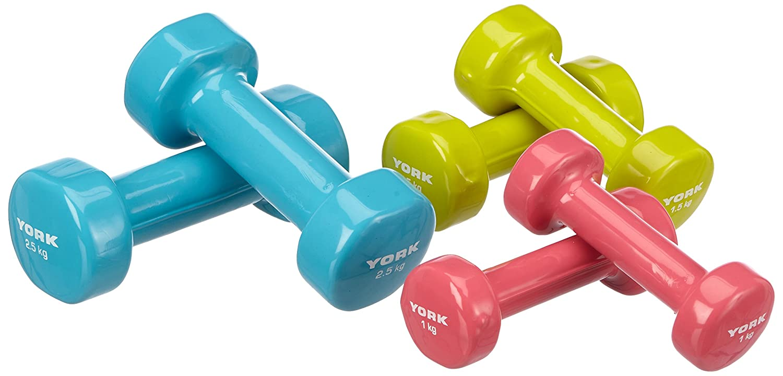 York Fitness - Juego de mancuernas de 10 kg (2 x 1 kg, 2 x 1,5 kg y 2 x 2,5 kg, color azul, verde y lila: Amazon.es: Deportes y aire libre