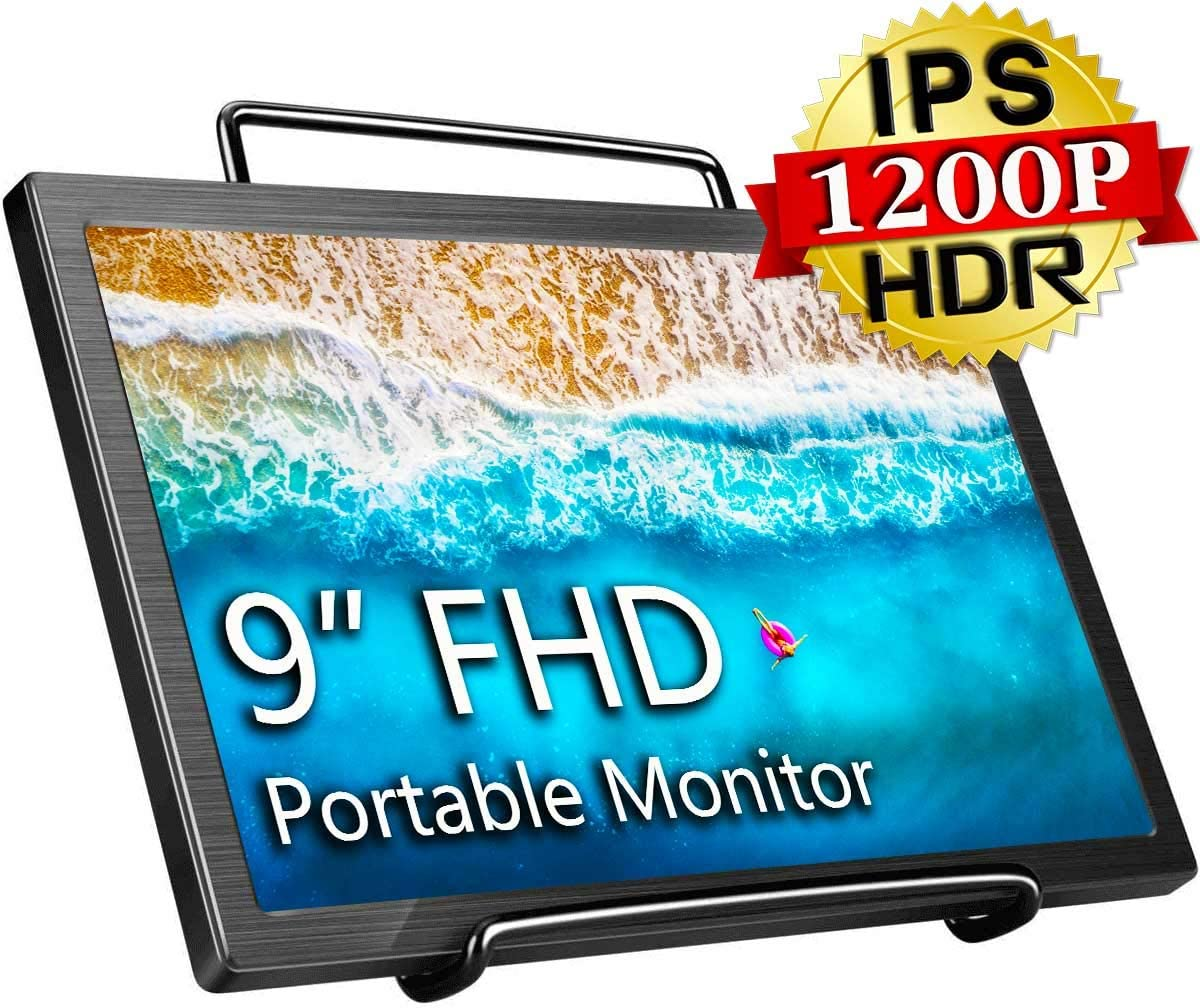 Portable Monitor 9 inch 1920 x 1200 HDR Freesync Portable Display with Mini HDMI Port for PC Laptop Switch PS4 Raspberry Pi, with Dual Speaker, Bracket