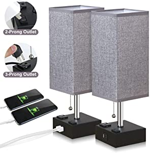 ZEEFO USB Table Lamp, Gray Square Fabric Shade Bedside Table Lamp with Two AC Outlet & Fast Dual USB Charging Ports, Modern Design Desk Lamp Ideal for Bedroom,Office,Guest Room, Kids Room (Set of 2)